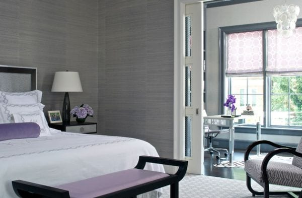 Beautiful-bedroom-in-grey-and-white-with-pleasing-purple-accents-and-zebra-print