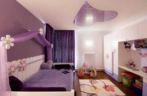 Purple-accent-wall-in-the-girls-bedroom-Just-as-pretty-as-pink