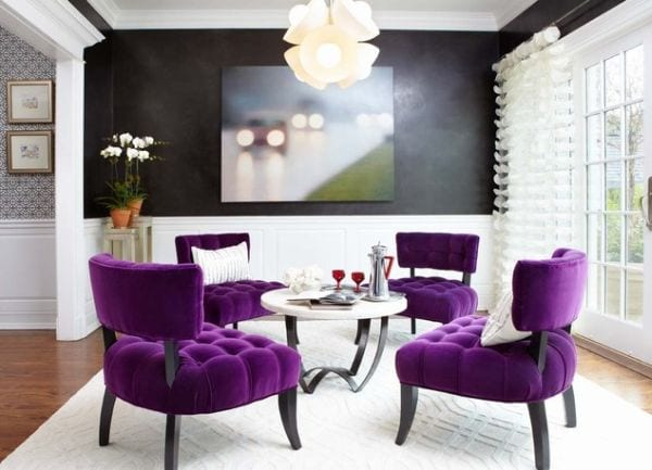 Stunning-room-in-black-and-white-with-purple-chairs-for-an-extravagant-look